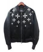 NEIL BARRETT(ニールバレット)の古着「エンブロイダリークロスボンバージャケット」|ブラック