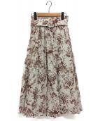 Mila Owen(ミラオーウェン)の古着「ウエストゴムベルト付フレアスカート」|ボルドー