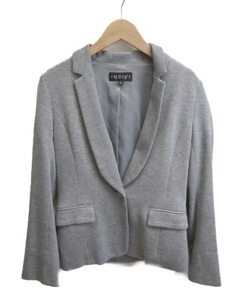 INDIVI(インディビ)INDIVI (インディヴィ) カノコテーラードジャケット グレー サイズ:Sの古着・服飾アイテム