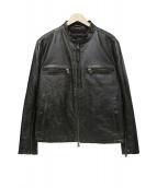 BANANA REPUBLIC(バナナリパブリック)の古着「レザーシングルライダースジャケット」 ブラック