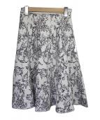 LE CIEL BLEU(ルシェルブルー)の古着「フラワージャガードフレアスカート」|ホワイト