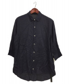 ISAMU KATAYAMA BACKLASH(イサムカタヤマ バックラッシュ)の古着「レーヨン6分袖丈クォーターシャツ」|ネイビー