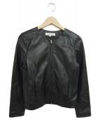 NATURAL BEAUTY BASIC(ナチュラルビューティーベーシック)の古着「ノーカラーレザージャケット」|ブラック