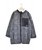 DOUBLE STANDARD CLOTHING(ダブルスタンダードクロージング)の古着「チェックボアカバーオールコート」|ブラック