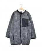 DOUBLE STANDARD CLOTHING(ダブルスタンダードクロージング)の古着「チェックボアカバーオールコート」 ブラック