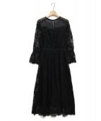 SNIDEL(スナイデル)の古着「レースシアーワンピース」|ブラック