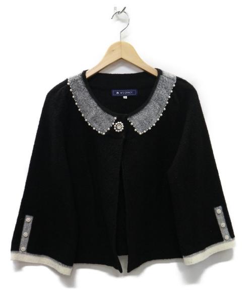MS GRACY(エムズグレイシー)MS GRACY (エムズグレイシー) フレア袖 パールノーカラージャケット ブラック サイズ:38 GL-628597の古着・服飾アイテム