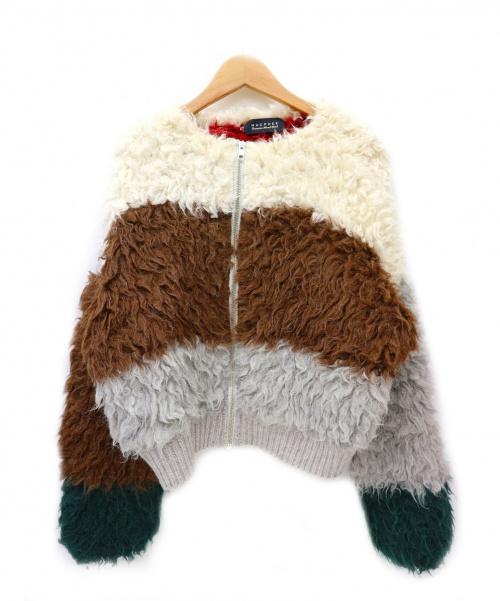 MACPHEE(マカフィー)MACPHEE (マカフィ) アルパカシャギーブロッキングニットブルゾン サイズ:Sの古着・服飾アイテム