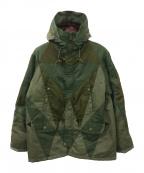 ANREALAGE(アンリアレイジ)の古着「パッチワークフーデッドコート」|カーキ