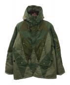 ANREALAGE(アンリアエイジ)の古着「パッチワークフーデッドコート 」|カーキ