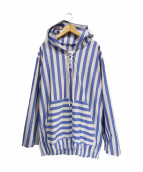 ETHOS(エトス)の古着「フードレースアップストライププルオーバーシャツ」|ブルー