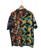 kolor/BEACON(カラービーコン)の古着「ハワイアンプリントシャツ」 ブラック