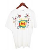 GUCCI(グッチ)の古着「ダメージ加工フローラルロゴTシャツ」|ホワイト