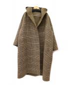 ROSSO(ロッソ)の古着「ガウンフードチェックコート」|ブラウン