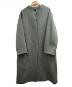 PUBLIC TOKYO(パブリックトウキョウ)の古着「カシミヤコンノーカラーコート」|カーキ