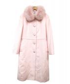 courreges(クレージュ)の古着「フォックスファー付ロングコート」|ピンク