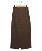 Room no.8(ルームエイト)の古着「ギンガムチェックバックボタンスカート」|ブラウン