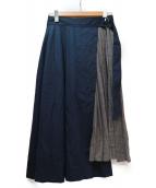 ROPE(ロペ)の古着「部分プリーツコットンスカート」|ネイビー×グレー