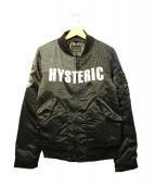 Hysteric Glamour(ヒステリックグラマ)の古着「ウール切替プリマロフトMA-1ジャケット」|ブラック