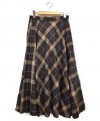 UNITED ARROWS TOKYO(ユナイテッドアローズトウキョウ)の古着「W/Nフレアスカート」|ブラウン×ブルー