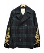 DENIM & SUPPLY RALPH LAUREN(デニムアンドサプライ ラルフローレン)の古着「刺繍チェックPコート」|グリーン