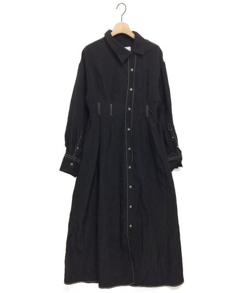 LE CIEL BLEU(ルシェルブルー)LE CIEL BLEU (ルシェルブルー) シュリンキングサテンシャツドレス ブラック サイズ:36の古着・服飾アイテム