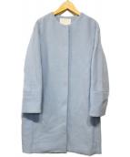 BALLSEY(ボールジィ)の古着「ウールアルパカシャギーノーカラーコート」|ライトブルー
