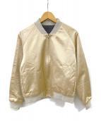 FACTOTUM(ファクトタム)の古着「EMBROIDERY SATIN BLOUSON」 ゴールド×ネイビー