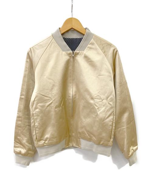 FACTOTUM(ファクトタム)FACTOTUM (ファクトタム) EMBROIDERY SATIN BLOUSON ゴールド×ネイビー サイズ:44の古着・服飾アイテム