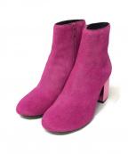 MM6 Maison Margiela()の古着「ハラコチャンキーヒールショートブーツ」|ピンク