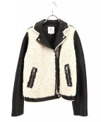 ()の古着「ムートンライダースジャケット」|ホワイト×ブラック