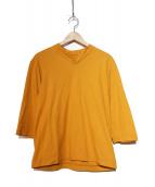 HOMME PLISSE ISSEY MIYAKE(オム プリッセ イッセイ ミヤケ)の古着「切替カットソー」|オレンジ