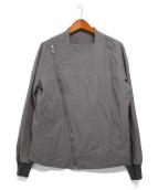 RICK OWENS(リックオウエンス)の古着「ノーカラーライダースジャケット」 グレー