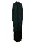 DIESEL(ディーゼル)の古着「ロングチェックワンピース」 グリーン