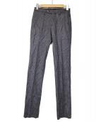 PT01(ピーティーゼロウーノ)の古着「ハンドトゥースウールパンツ」|グレー×パープル