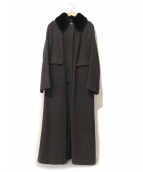 JIL SANDER(ジルサンダー)の古着「カシミヤ混ヘリンボーンロングコート」|グレー