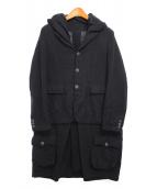 BLACK COMME des GARCONS(ブラックコムデギャルソン)の古着「ポリ縮絨再構築ドッキングコート」|ブラック