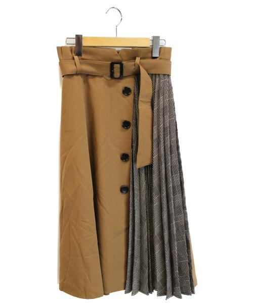 JUSGLITTY(ジャスグリッティー)JUSGLITTY (ジャスグリッティー) プリーツアシメフレアスカート キャメル サイズ:2 未使用品の古着・服飾アイテム