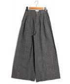 GRACE CLASS(グレースクラス)の古着「デニムタックワイドパンツ」|ブラック