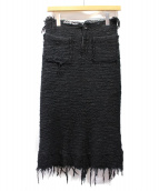 JUNYA WATANABE COMME des GARCONS(ジュンヤワタナベ コムデギャルソン)の古着「カットオフツイードスカート」 ブラック