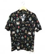 GUILD PRIME(ギルドプライム)の古着「ロゴ総柄アロハシャツ」 ブラック