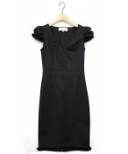 BLUMARINE(ブルマリン)の古着「ミンクファートリムドレス」|ブラック