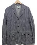 SASSAFRAS(ササフラス)の古着「ヒッコリージャケット」 ホワイト×インディゴ
