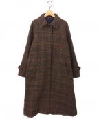 BACCA(バッカ)の古着「ウールハウンドトゥースステンカラーコート」|ブラウン