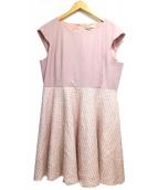 Maglie par ef-de(マーリエパーエフデ)の古着「ラメツイードワンピース」|ピンク