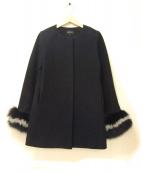QUEENS COURT(クイーンズコート)の古着「袖配色ファーノーカラーコート」|ネイビー