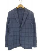 L.B.M.1911(エルビーエム1911)の古着「リネン混2Bチェックコットンテーラードジャケット」|ネイビー