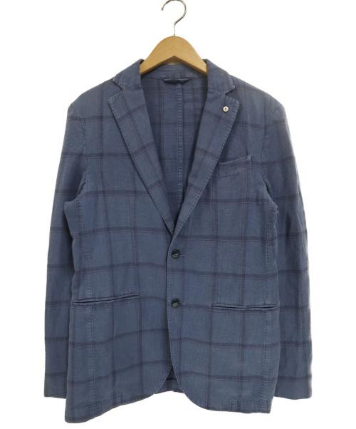 L.B.M.1911(ルビアム1911)L.B.M.1911 (エルビーエム1911) リネン混2Bチェックコットンテーラードジャケット ネイビー サイズ:46 2875の古着・服飾アイテム