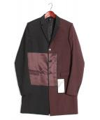 Dior Homme(ディオールオム)の古着「バイカラーシャイニーテープコート」|ボルドー