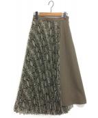 Diagram(ダイアグラム)の古着「パイソンプリントプリーツスカート」|オリーブ